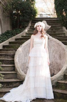 Dauphina Floral Lace Cap by Enchanted Atelier for Maison Sophie Hallette-Credits: Emme Wynn-Photography, Liz Wegrzyn-MUA, Aleksandra Ulanowicz-Hair, Rachel MacKay-Model, Headpiece by Enchanted Atelier-