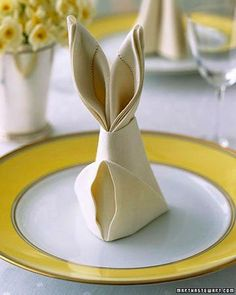 Super Fun Bunny Napkin Fold By Martha Stewart