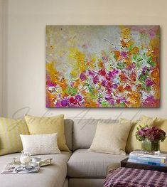 Large Wall Art Floral Print Abstract Painting by JuliaApostolova