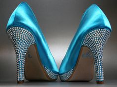Blue Wedding Shoes  Turquoise Peeptoes with by DesignYourPedestal, $299.25
