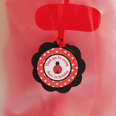 Ladybug Favor Tags Birthday Party - Red & Black