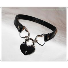 Heart Padlocked PVC/ Vinyl Vegan Leather Kawaii Heart Slave Collar -... (£25) ❤ liked on Polyvore featuring jewelry, necklaces, accessories, chokers, gothic choker necklace, heart necklace, thin necklace, gothic choker und goth choker necklace
