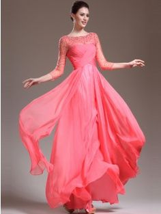 A-Line/Princess Scoop 3/4 Sleeves Chiffon Beading Floor-Length Dresses
