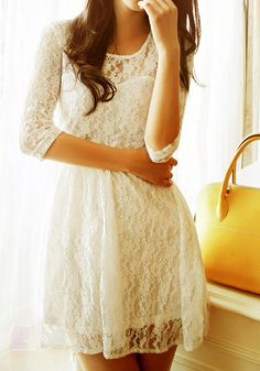 Mesh Heart Lace Dress in White. Pretty and playful.