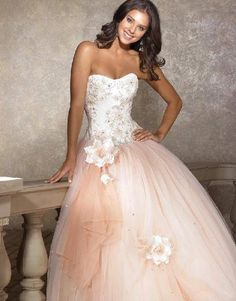 Pink ruffled wedding dress