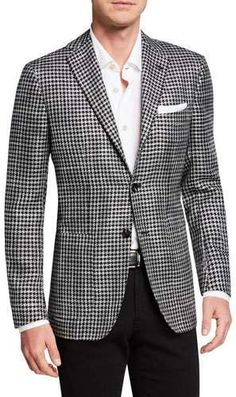 Kiton Men's Cashmere/Silk Houndstooth Blazer You are in the right place about Androgynous wedding ha Mens Fashion Wear, Fashion Moda, Suit Fashion, Fashion Night, Daily Fashion, Fashion Rings, Gentleman Style, Sport Coat, Mens Suits