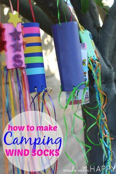 Camping Kids Crafts - Paper Windsocks - made with HAPPY
