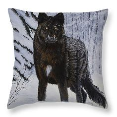 "For the wolf lovers ""Surprise Encounter"" Throw Pillow 14"" x 14"" (shown) 3 more sizes available by Johanna Lerwick - Wildlife/Nature Art. Prints (paper, canvas, acrylic & metal), greeting cards and throw pillows available."