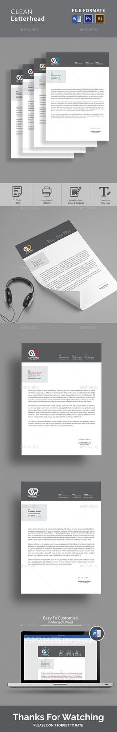 Letterhead Template with super modern and Corporate look. Letterhead page designs are very easy to use and customize, so you can quickly tailor-make your letterhead for any opportunity. Use this letterhead template for company or corpate use. Stationery Printing, Stationery Templates, Stationery Design, Print Templates, Design Templates, Form Design, Page Design, Graphic Design, Presentation Design