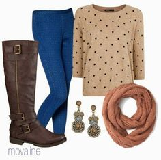 Mix up your patterns! These bright blue patterned leggings pair well with this tan and black polka dot sweater. Add brown riding boots, neutral tone scarf and dangling earrings to complete your outfit.