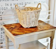 Paint Stick Table Top - use paint stick herringbone for inside of serving tray covered with glass?