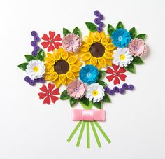 Beautiful Framed Quilling Art Colorful Flowers by PaperParadisePL