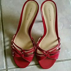 "Ann Taylor Red Sandal Slide. Like new Upper straps. Leather. Lightly padded footbed and leather sole. 4"" wrapped leather heel. Worn once. Shoes Sandals"