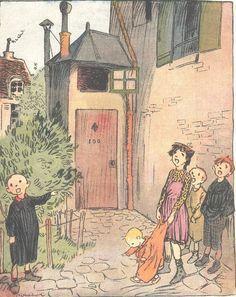 Durand Fume cordons souliers cabinet - Dessin Poulbot - Gravure Ancienne 1912