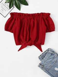 Off Shoulder Frill Trim Knot Hem Solid BlouseFor Women-romwe Girls Fashion Clothes, Tween Fashion, Summer Fashion Outfits, Look Fashion, Girl Fashion, Cute Girl Outfits, Cute Casual Outfits, Stylish Outfits, Tween Mode