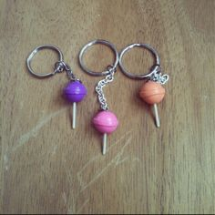 Dum Dum Pop key chains polymer clay by FlowerChildCharms on Etsy Hand Made!