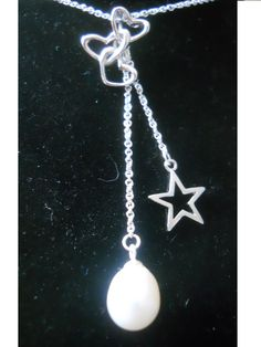 Silver Heart on silver chain with big white pearl and silver star