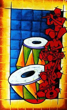Musical Instruments Painting - Musical Series 001 by Rajendra Bhatodra African Art Paintings, Modern Art Paintings, African Abstract Art, Abstract Oil, Indian Folk Art, Indian Contemporary Art, Rajasthani Art, Buddha Painting, Madhubani Painting