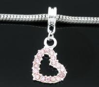 1 X Silver Plated Rhinestone Heart Dangle Beads FITS EUROPEAN CHARM BRACELETS 30X13mm $6.99 FREE SHIPPING - NO BUYER'S FEE