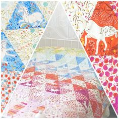 Heather Ross Far Far Away Equilateral Triangle Quilt by Caroline Purser <3