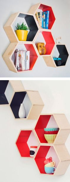 Honeycomb hexagon floating shelves | furniture design. I'd paint them black on the outside and the wall color on the inside.