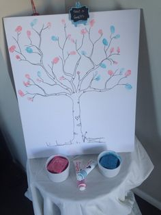 Guess the gender thumb print tree at a gender reveal party.
