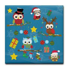 new at @CafePress : #Christmas #Owls Tile #Coaster Cute colorful christmas Owls, gifts and stars! The Background is blue and decorated with #snowflakes! Artwork by ...