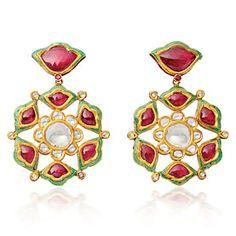 Lotus Flower EarringsDiamond & Ruby with enamel detailing on reverse set in gold