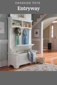 Brighten up your entryway or mud room with the inviting design of the Naples hall tree and storage bench. Organize your outer wear for a clean crisp look! #entryway #home #homedecor #ad #modern #country #mudroom #cottage #shopping #shoponline