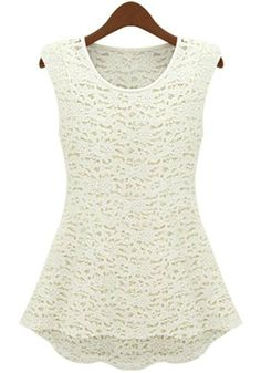 White Round Neck Sleeveless Hollow Lace Dress