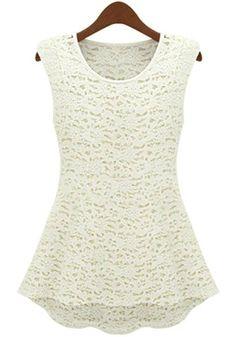 White Round Neck Sleeveless Hollow Lace Dress 8.83