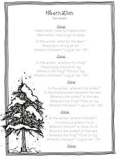 """Song, """"Hibernation"""" (Tune: """"Alouette"""")"""