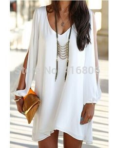 Find More Dresses Information about New Arrival Elegant Women's V Neck Long Sleeve Loose Fitting White Chiffon Dress For Women In Summer Causal Style Fashion Dess,High Quality women dress,China dress socks women Suppliers, Cheap dress up pregnant women from Chinabestdeals on Aliexpress.com