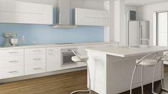 Fuji White Kitchen blue splashback (Dulux Brewsters)