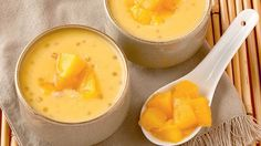 Mango Sago Recipe Desserts with mango, mango juice, coconut milk, sugar, tapioca… Cold Desserts, Light Desserts, Sweet Desserts, Delicious Desserts, Dessert Recipes, Yummy Food, Quick Dessert, Filipino Desserts, Asian Desserts