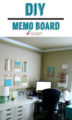 DIY Large Memo Board | Fabric Bulletin Board | Make your own large memo board using a drop cloth. See the full tutorial by clicking on the photo.
