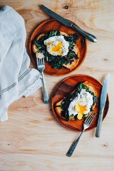 poached eggs and rainbow chard on sourdough toast