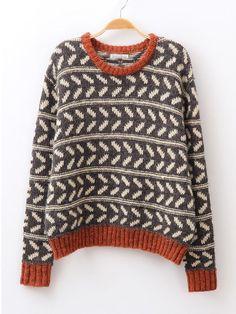Coffee Batwing Sleeve Geometric Pattern Sweater - http://Sheinside.com
