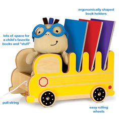 A Pull Toy for Children who Love Books!  This fun-loving friend helps introduce and develop a playful bond with books through the self-directed acts of selecting, loading and pulling books. $39.99  Pkolino Book Buggee - Educational Toddler Toy - Yellow School Bus - PKTYBBSB