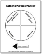 Author's Purpose Pointer - Duplicate on card stock or cut out and glue onto paper plate. Add pointer with brad paper fastener. Use with each day's reading selection to develop the concept of author's purpose over time.