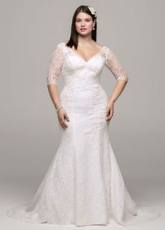 Demure yet stylish, this 3/4 sleeve all over lace trumpet gown is the epitome of classic beauty!  Style 9WG3684 at #DavidsBridal. #weddingdress #vintagewedding