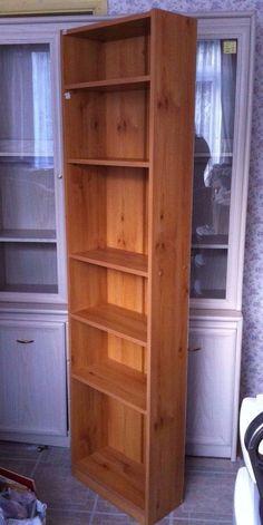 Teak Effect Bookshelf Unit, CD DVD VHS Tower. 6 Shelves. Room for 18 shelves.
