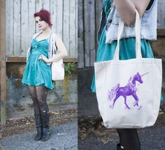 Forever 21 Teal Dress, Yard Sale Denim Vest, Thrifted Boots, Whimsy Bags Unicorn Tote Bag, Nature Look Jewelry
