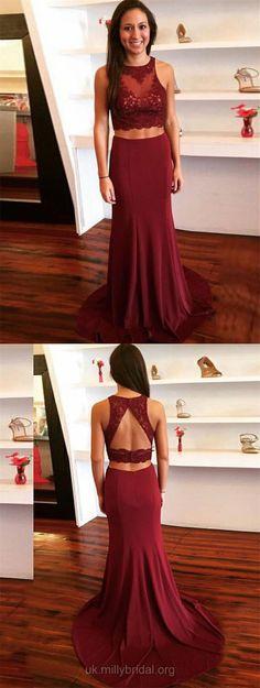 Burgundy Prom Dresses, Two Piece Prom Dresses 2018, Long Prom Dresses Lace, Tulle Prom Dresses Chiffon, Scoop Neck Prom Dresses Sheath/Column, Modest Prom Dresses For Teens #Burgundy