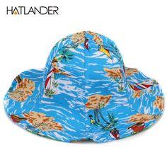 b7297bcc Coconut tree Hawaii beach hats wide brim sun hat sports cap double side cotton  bucket hat