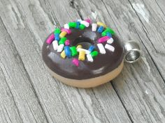 polymer clay chocolate doughnut with sprinkles