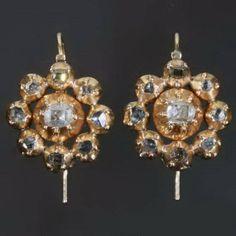 Georgian diamond 18kt gold drop earrings shepherd