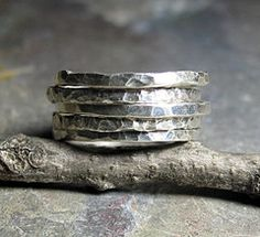 Rustic stacking rings from Lavender Cottage Jewelry