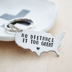 No Distance is Too Great USA Keychain.  USA map keychain.  A great gift for you and your long distance best friend or your significant other in your long distance relationship.  LDR gifts.  Made by HerSilverLining on Etsy.com