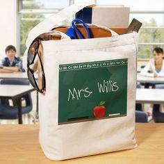 Personalized Teacher Canvas Tote Bag Chalkboard Design